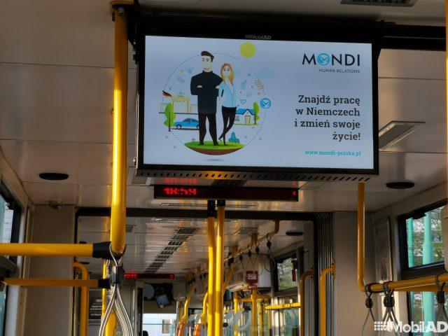 Reklama Mondi led wkomunikacji miejskiej